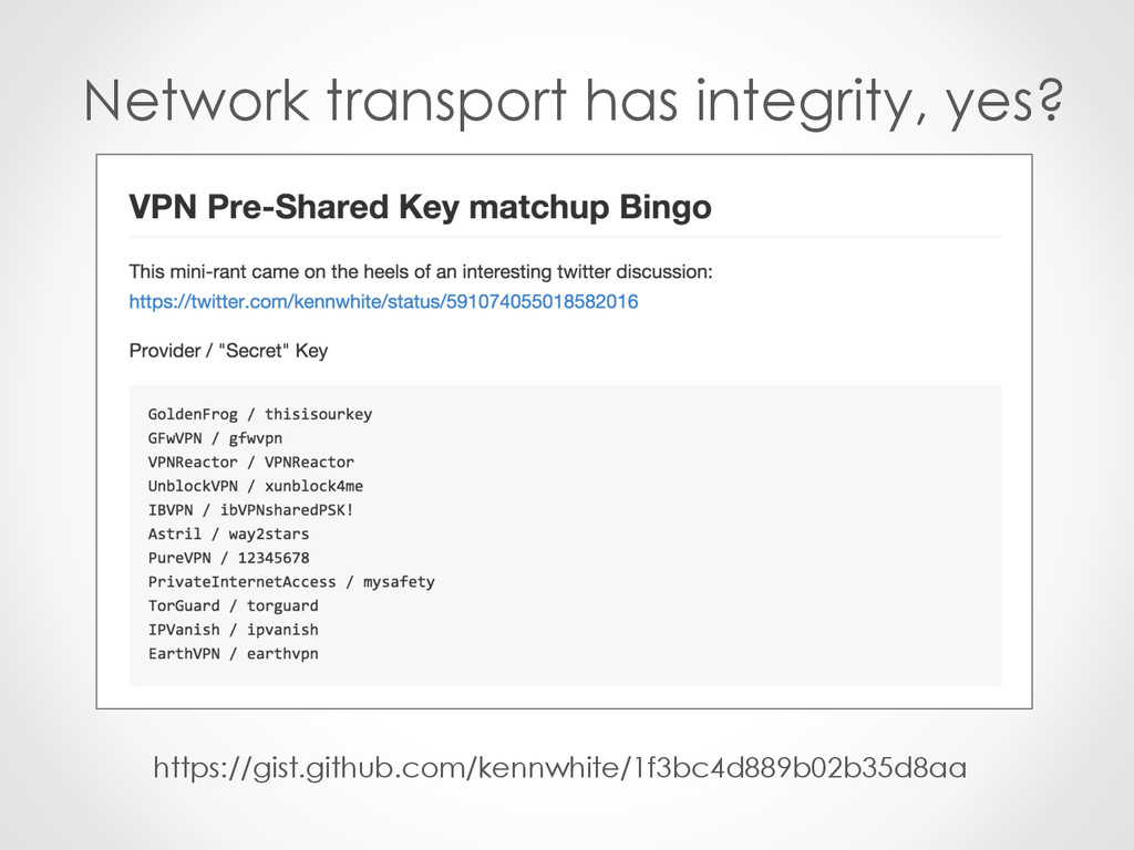 Network transport has integrity, yes? https://g...