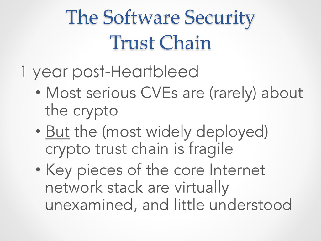 The Software Security  Trust Chain 1 year...