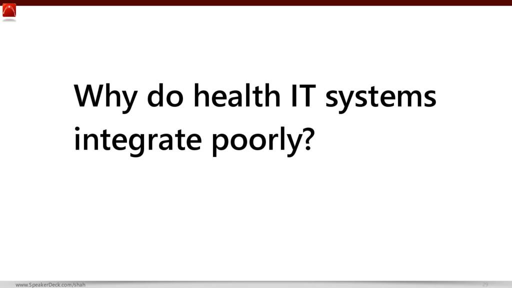 29 www.SpeakerDeck.com/shah Why do health IT sy...