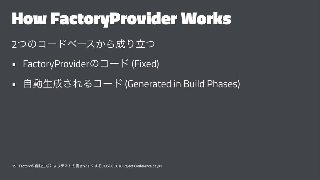How FactoryProvider Works 2ͭͷίʔυϕʔε͔ΒΓཱͭ • Fac...