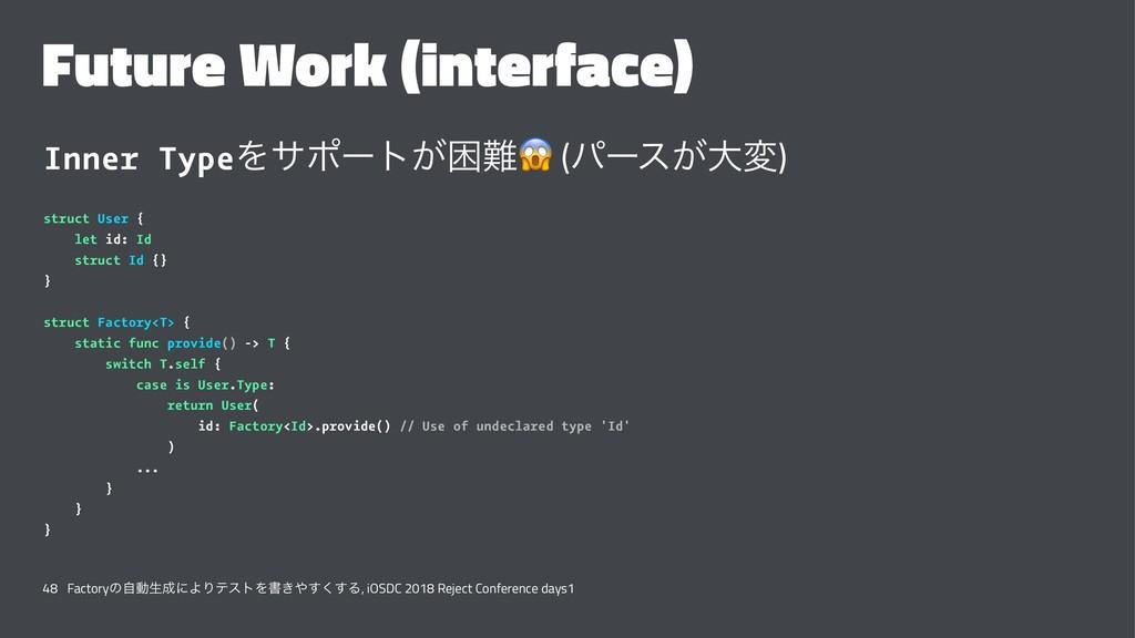 Future Work (interface) Inner TypeΛαϙʔτ͕ࠔ ! (ύ...