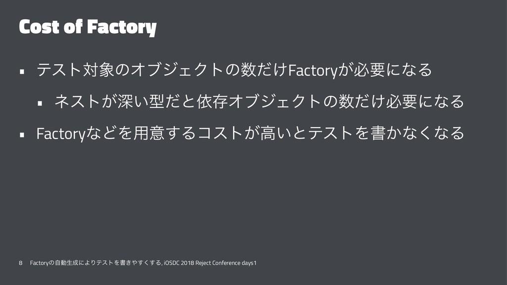 Cost of Factory • ςετରͷΦϒδΣΫτͷ͚ͩFactory͕ඞཁʹͳΔ...
