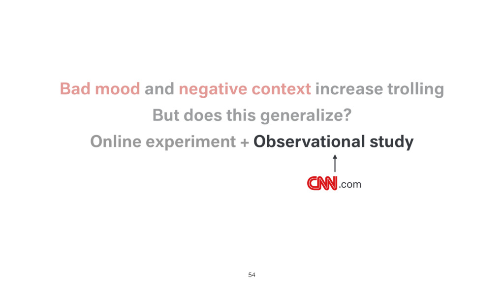 Online experiment + Observational study 54 But ...