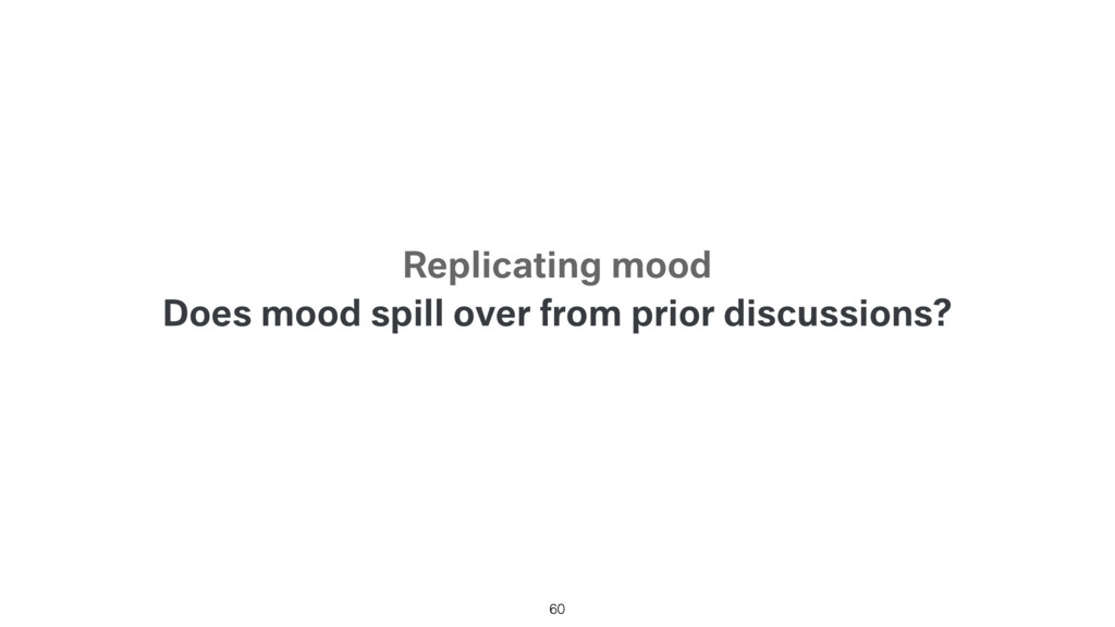 Does mood spill over from prior discussions? 60...