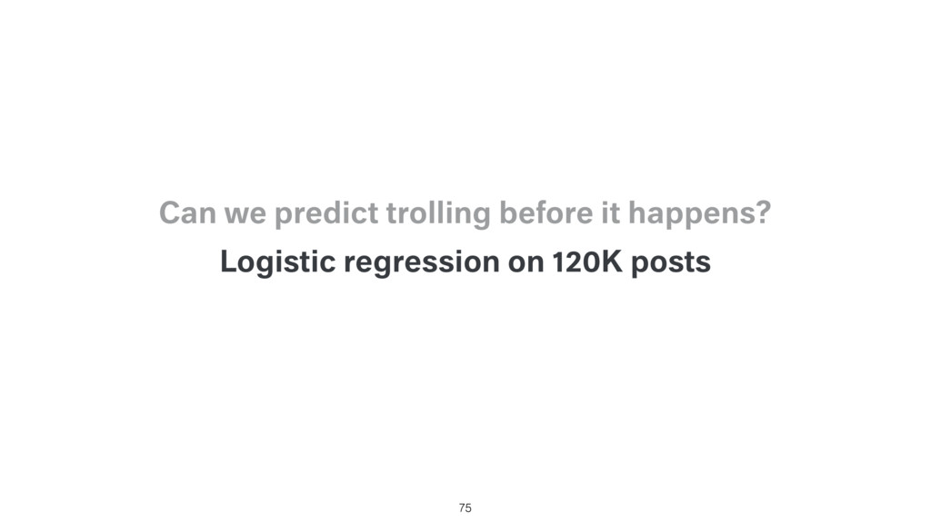 Logistic regression on 120K posts 75 Can we pre...