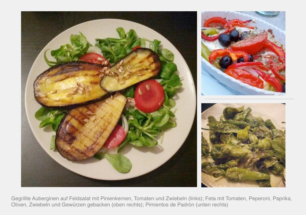 Gegrillte Auberginen auf Feldsalat mit Pinienke...