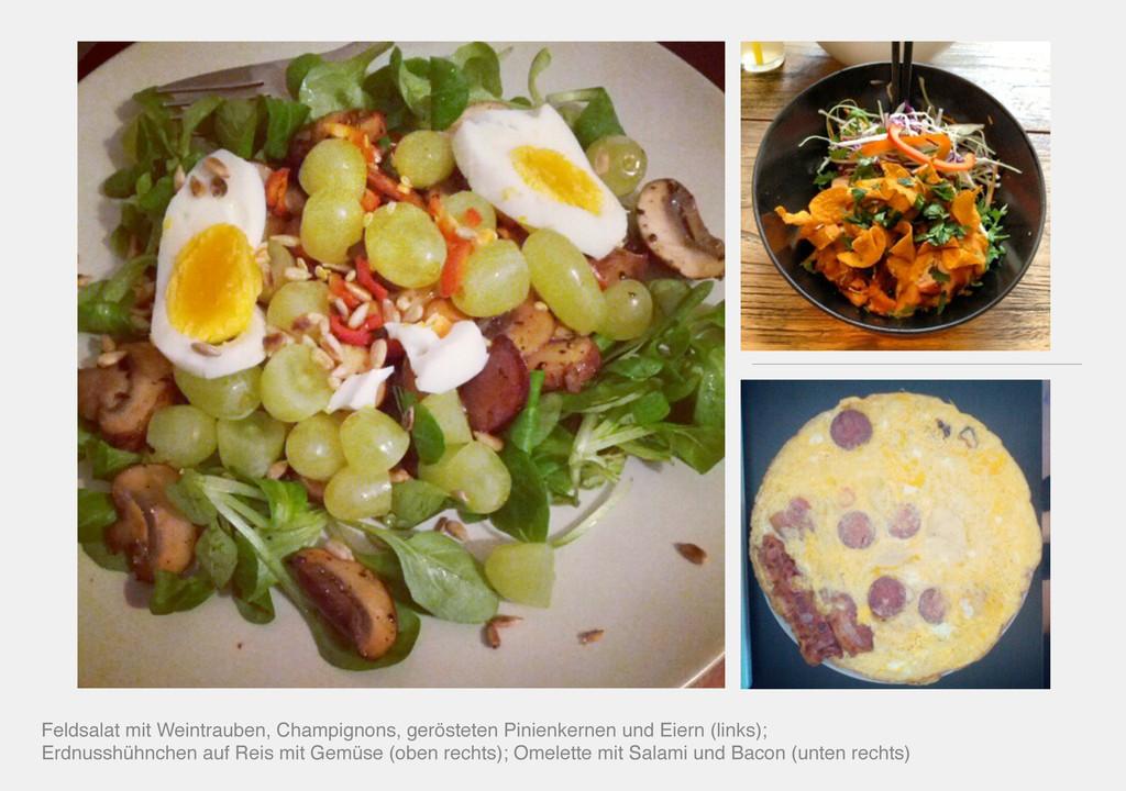 Feldsalat mit Weintrauben, Champignons, geröste...