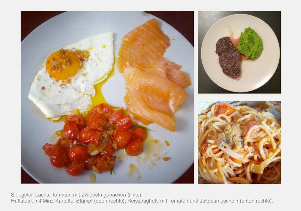 Spiegelei, Lachs, Tomaten mit Zwiebeln gebacken...