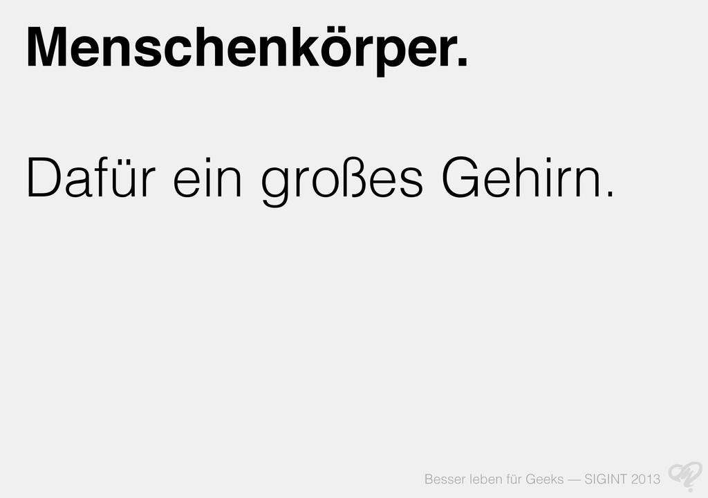 Besser leben für Geeks — SIGINT 2013 Menschenkö...