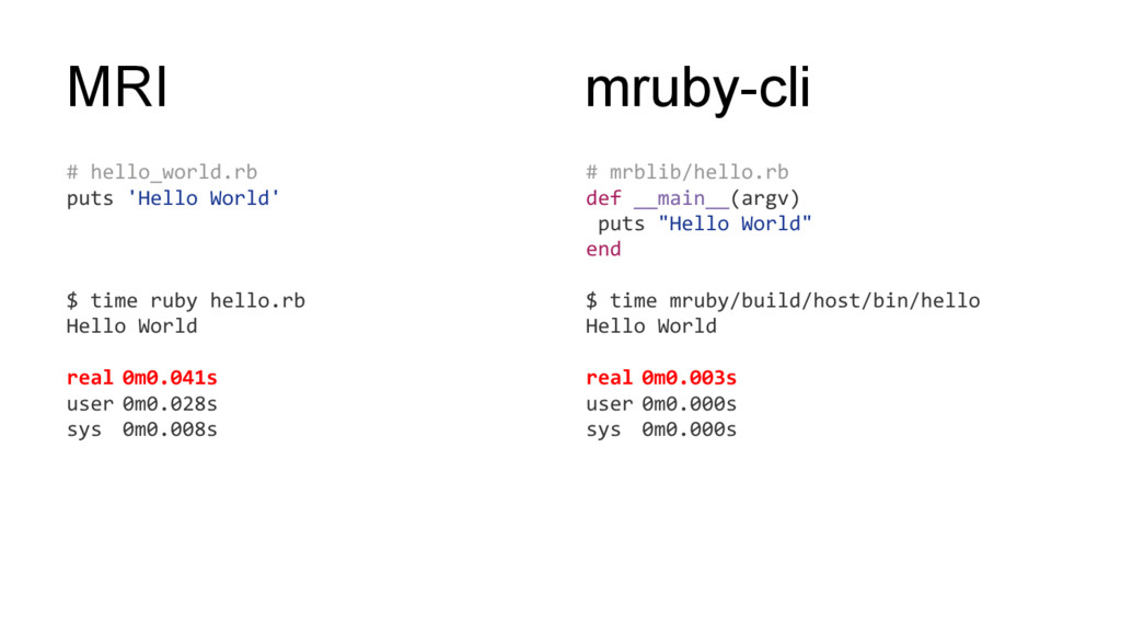 MRI # hello_world.rb puts 'Hello World' $ time ...