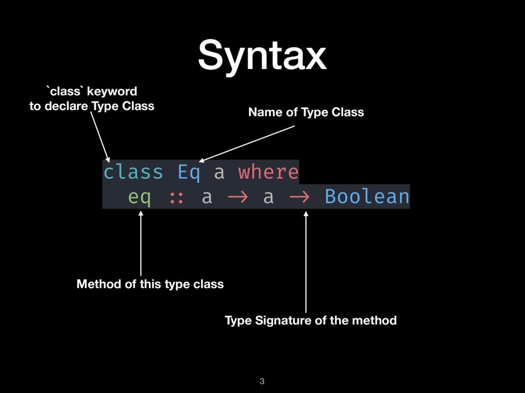 Syntax 3 Name of Type Class Method of this type...