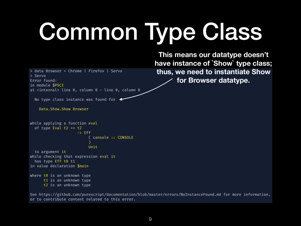 Common Type Class 9 This means our datatype doe...