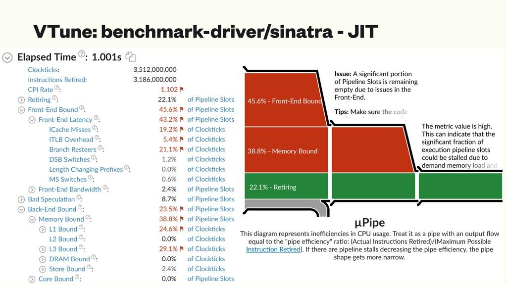 VTune: benchmark-driver/sinatra - JIT