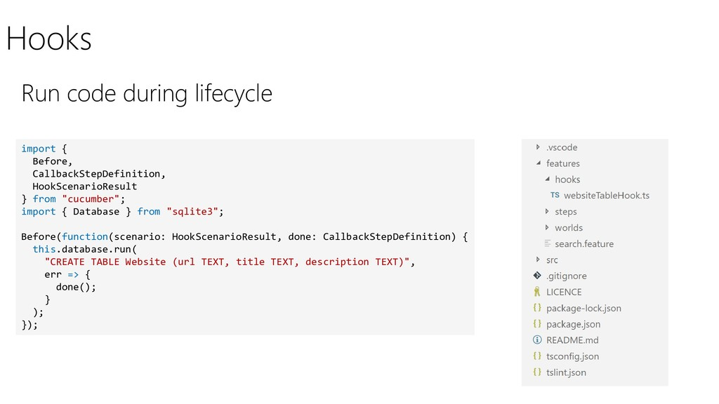 Hooks Run code during lifecycle import { Before...