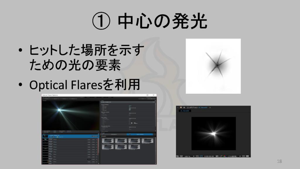 ① 中心の発光 • ヒットした場所を示す ための光の要素 • Optical Flaresを利...