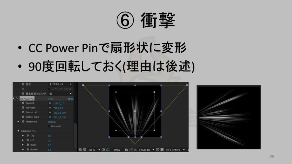 ⑥ 衝撃 • CC Power Pinで扇形状に変形 • 90度回転しておく(理由は後述) 29
