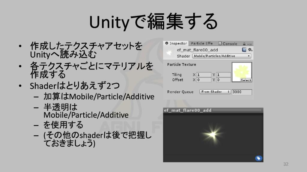 Unityで編集する • 作成したテクスチャアセットを Unityへ読み込む • 各テクスチャ...