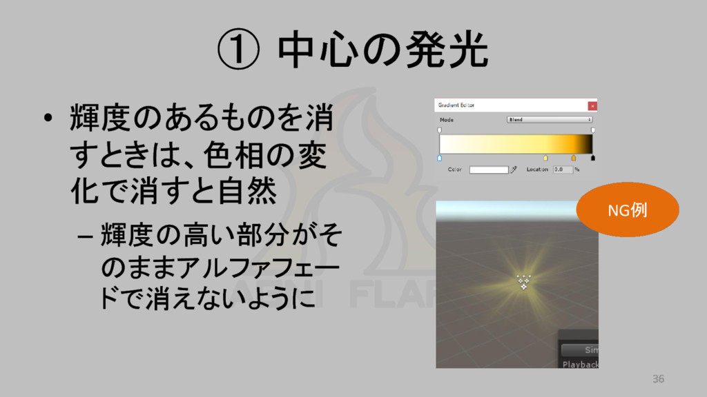 ① 中心の発光 • 輝度のあるものを消 すときは、色相の変 化で消すと自然 – 輝度の高い部分...