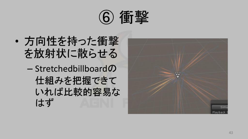 • 方向性を持った衝撃 を放射状に散らせる – Stretchedbillboardの 仕組み...