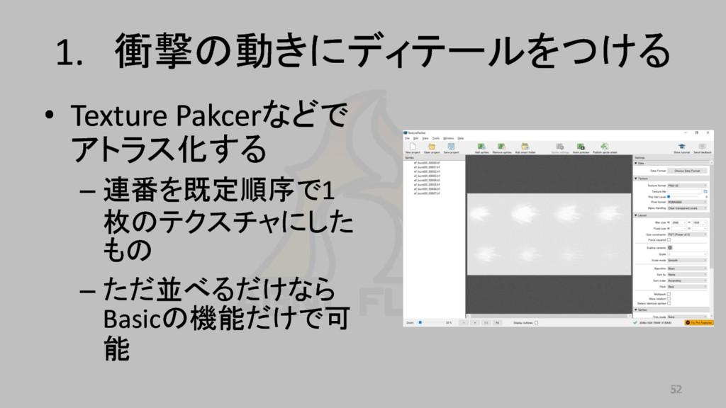• Texture Pakcerなどで アトラス化する – 連番を既定順序で1 枚のテクスチャ...