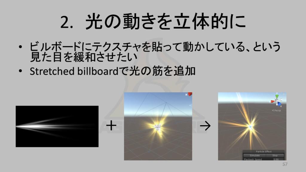 2. 光の動きを立体的に • ビルボードにテクスチャを貼って動かしている、という 見た目を緩和...