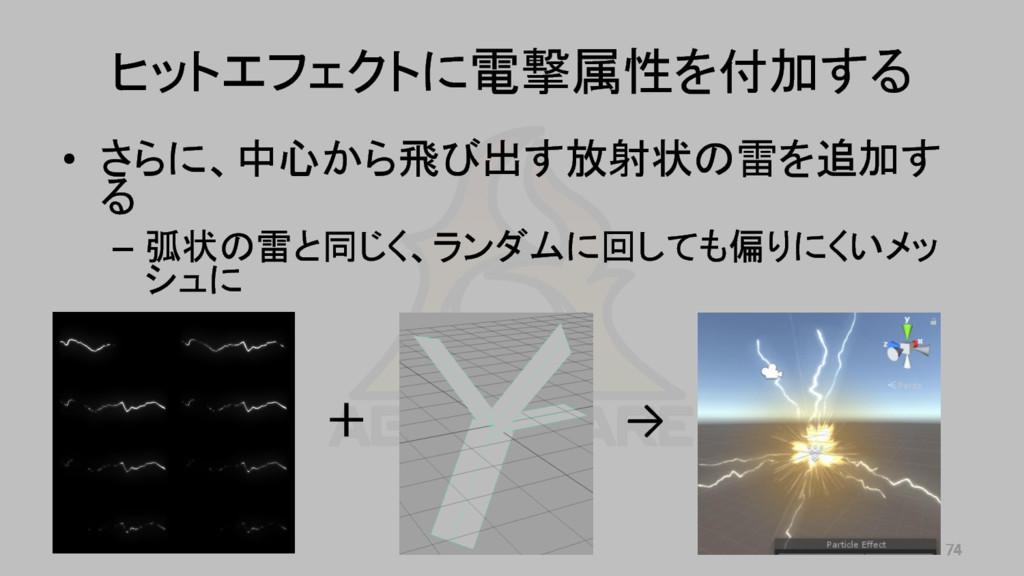 • さらに、中心から飛び出す放射状の雷を追加す る – 弧状の雷と同じく、ランダムに回しても偏...