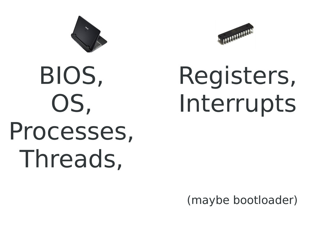 BIOS, OS, Processes, Threads, (maybe bootloader...
