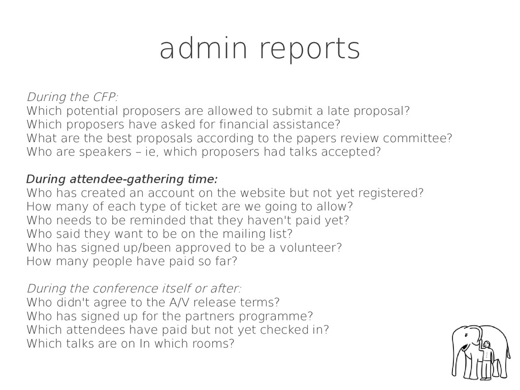 admin reports During the CFP: Which potential p...