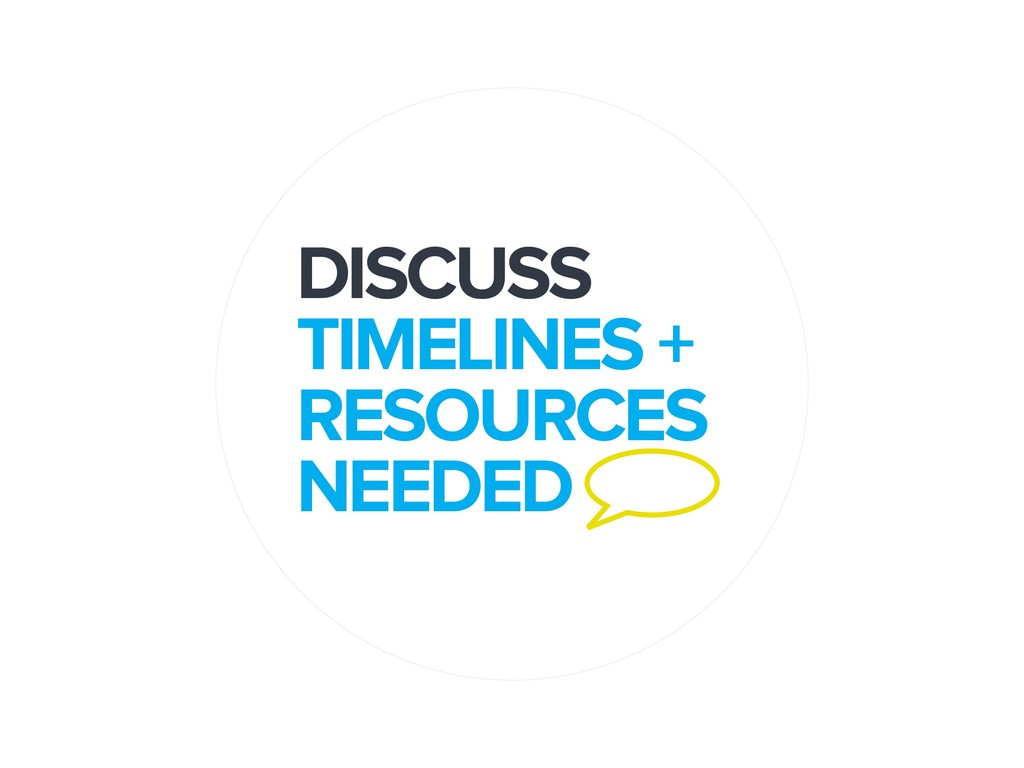 DISCUSS TIMELINES + RESOURCES NEEDED