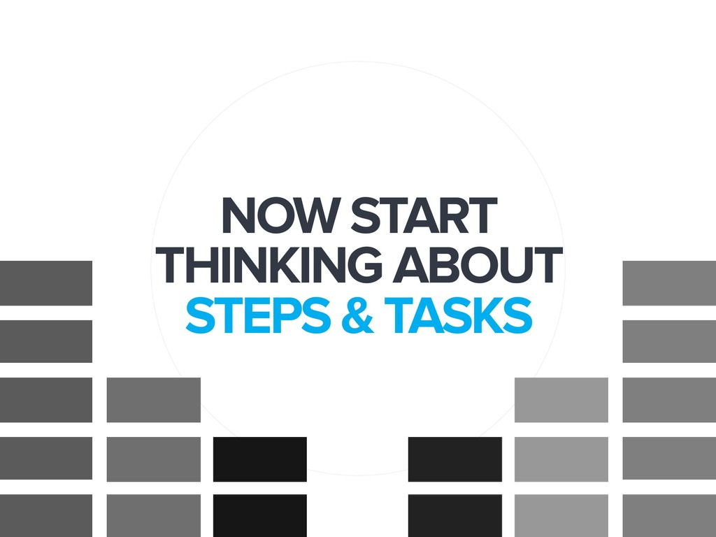 NOW START THINKING ABOUT  STEPS & TASKS