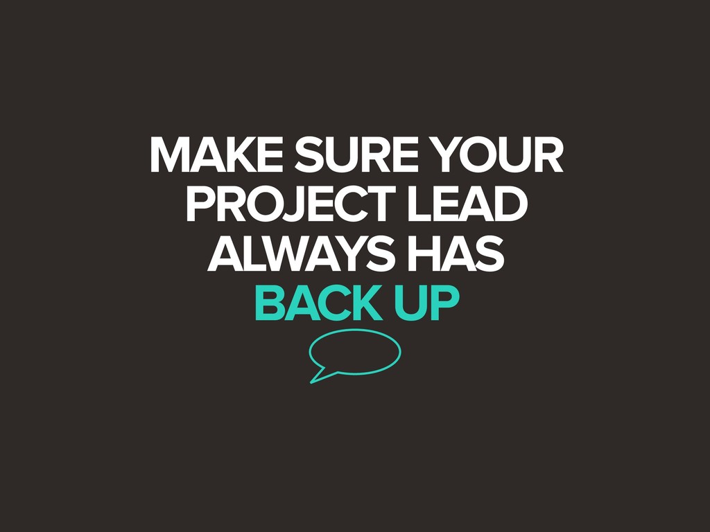 MAKE SURE YOUR PROJECT LEAD ALWAYS HAS BACK UP