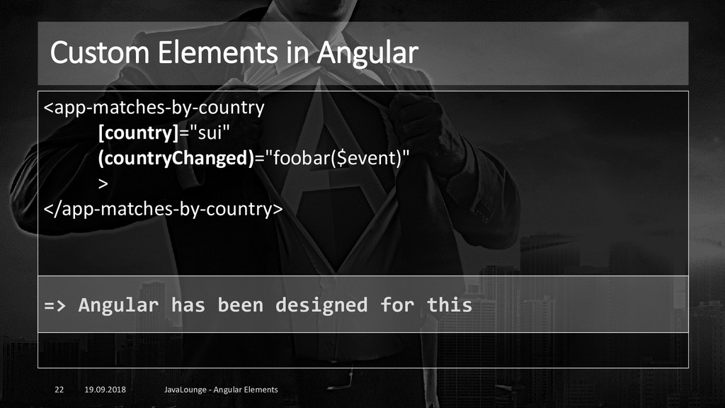 Custom Elements in Angular 19.09.2018 JavaLoung...