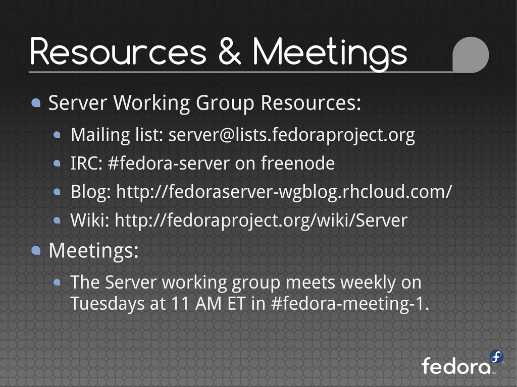 Server Working Group Resources: Mailing list: s...