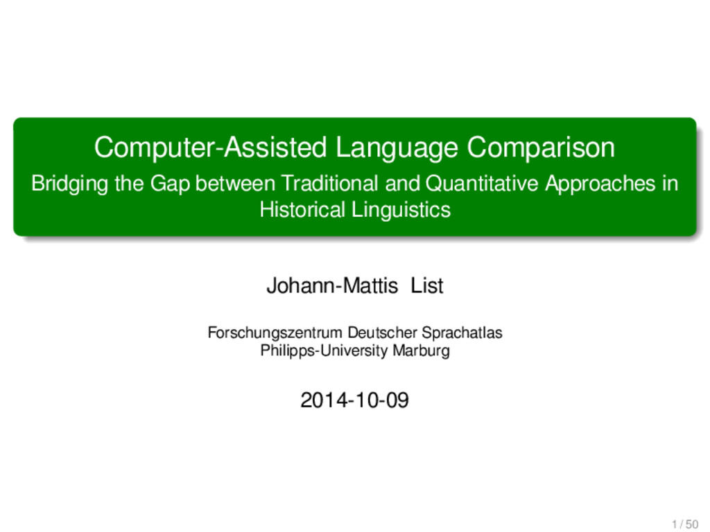 Computer-Assisted Language Comparison Bridging ...