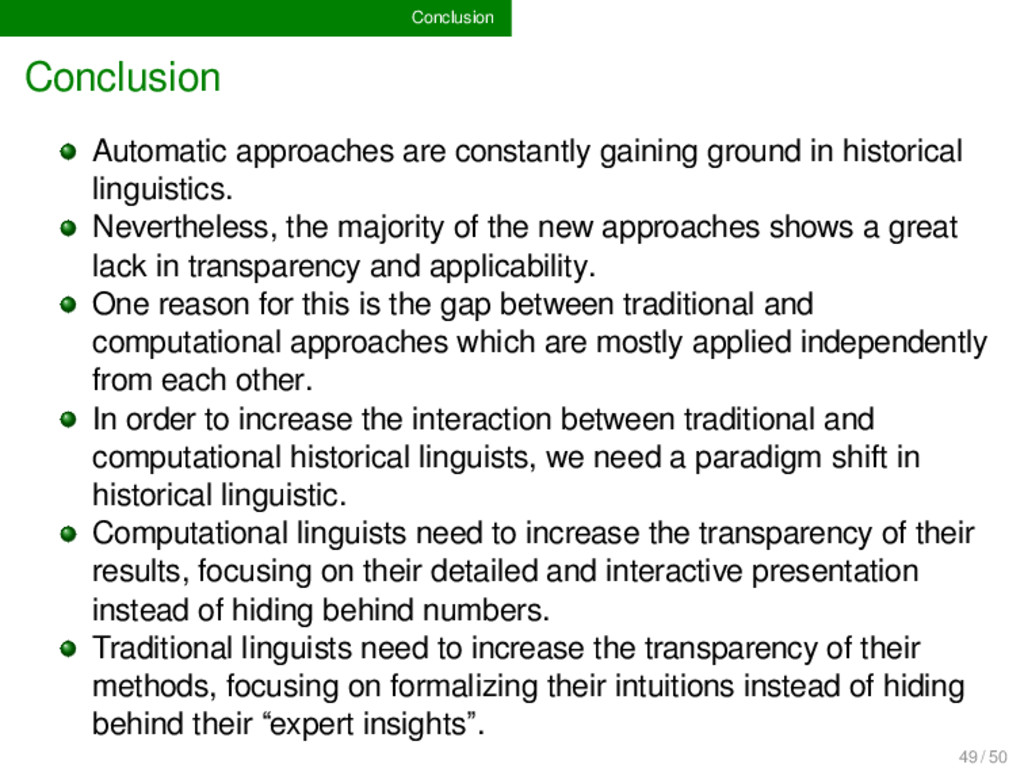 Conclusion Conclusion Automatic approaches are ...