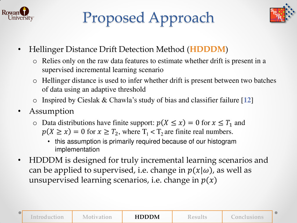 Proposed Approach • Hellinger Distance Drift De...