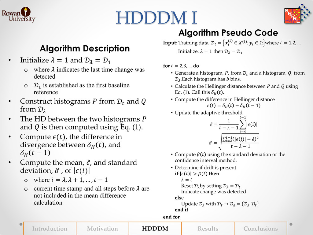 HDDDM I Algorithm Description Algorithm Pseudo ...