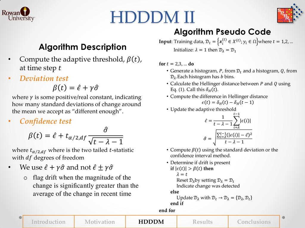 HDDDM II Algorithm Description Algorithm Pseudo...