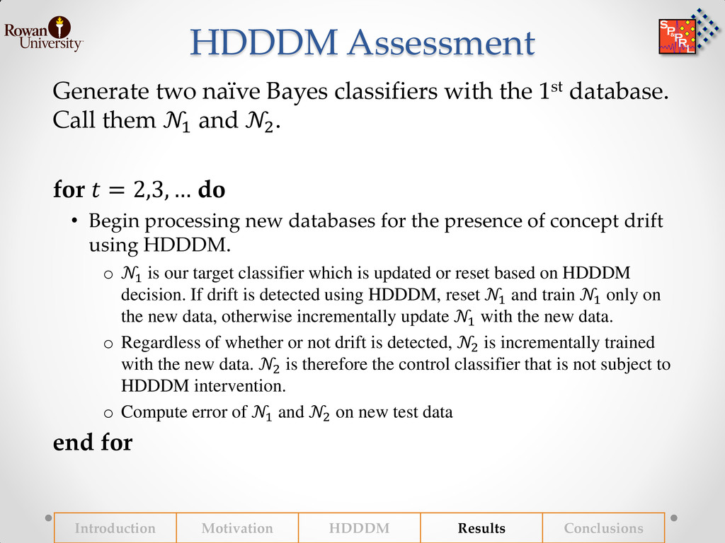 HDDDM Assessment Generate two naïve Bayes class...
