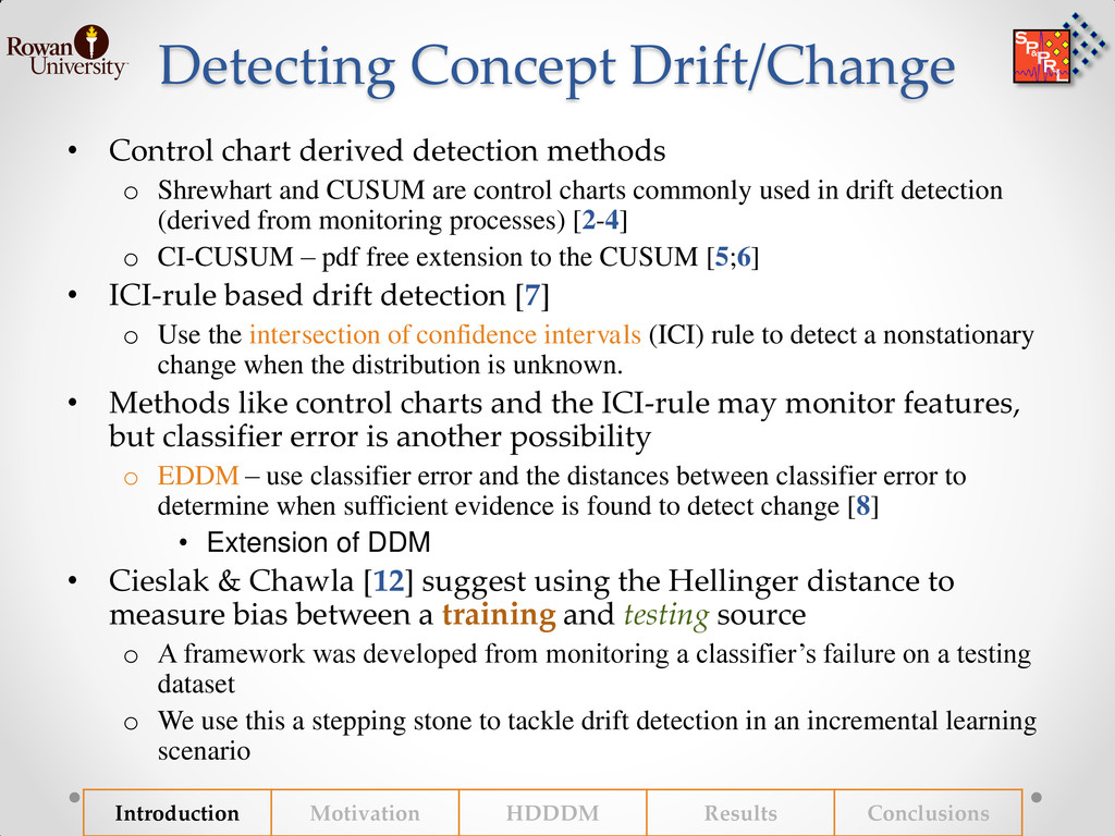 Detecting Concept Drift/Change • Control chart ...