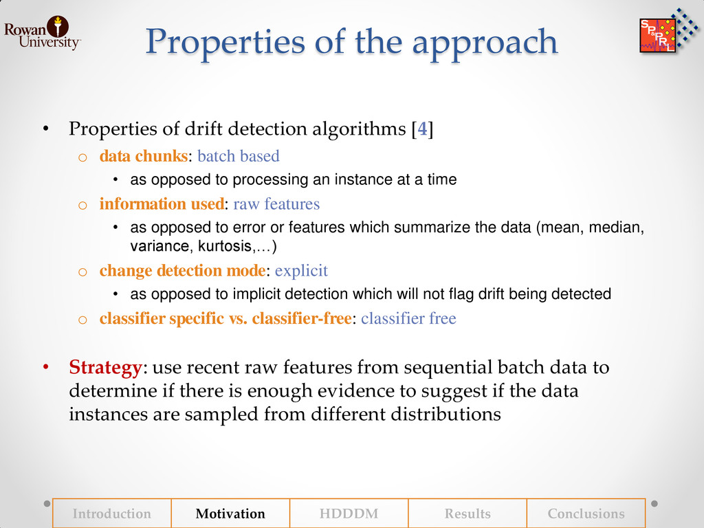Properties of the approach • Properties of drif...