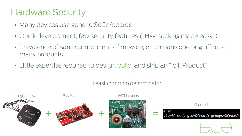 Hardware Security • Many devices use generic So...
