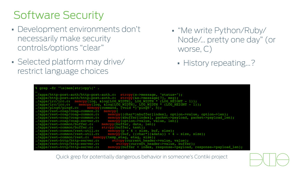 Software Security • Development environments do...