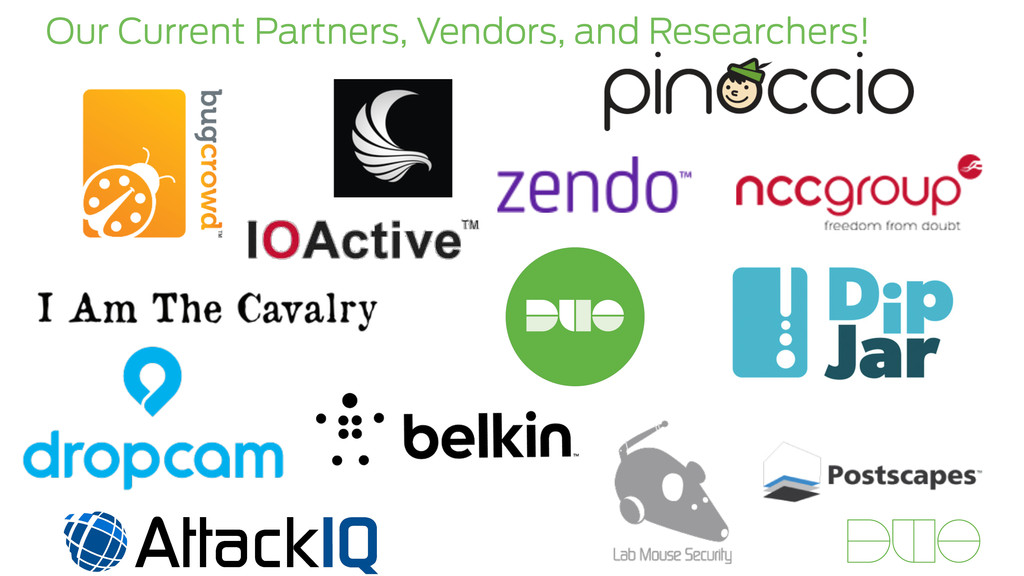Our Current Partners, Vendors, and Researchers!