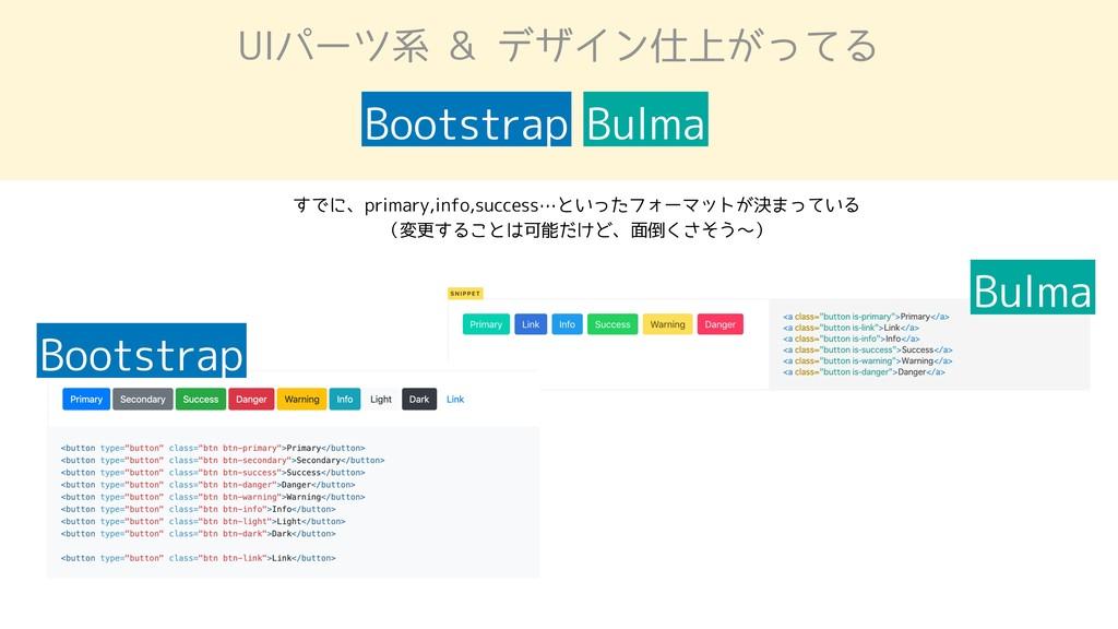 UIパーツ系 & デザイン仕上がってる Bootstrap Bulma Bootstrap B...