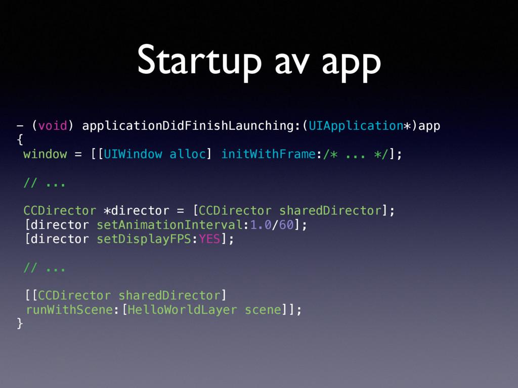 Startup av app - (void) applicationDidFinishLau...