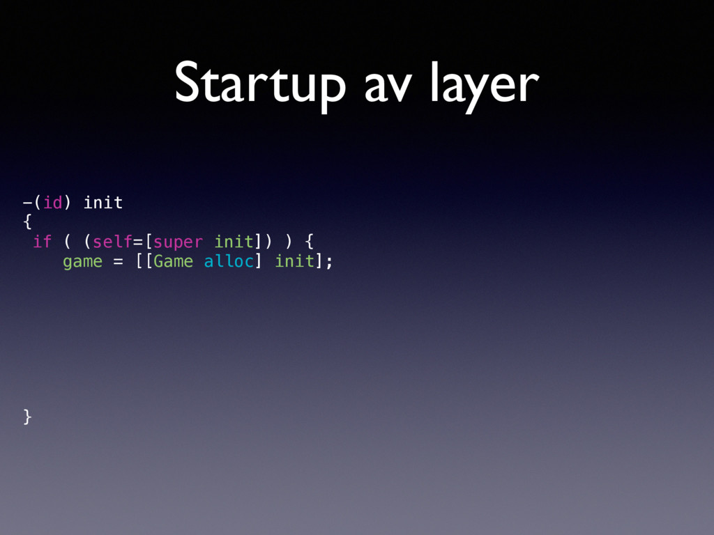 Startup av layer -(id) init { if ( (self=[super...