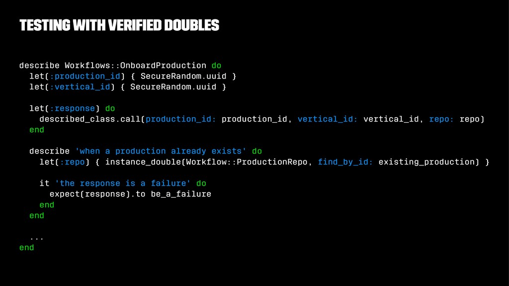 Testing with verified doubles describe Workflows:...