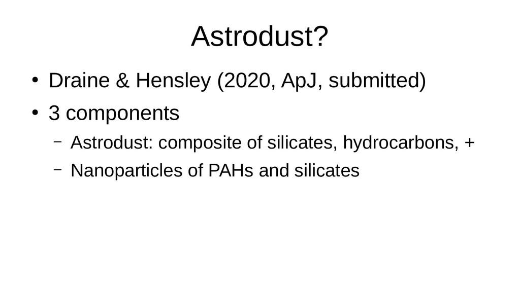 Astrodust? ● Draine & Hensley (2020, ApJ, submi...