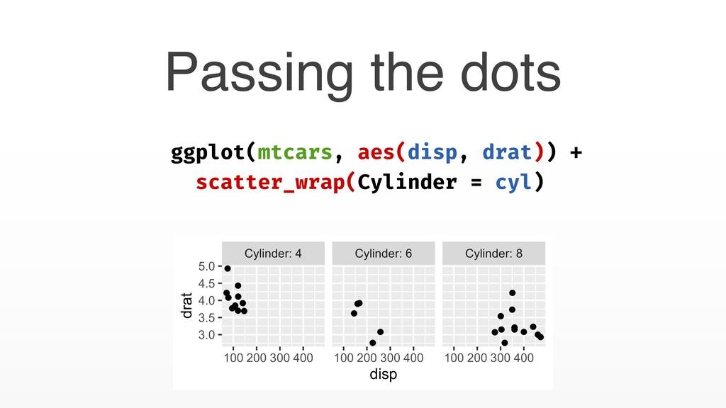 Passing the dots ggplot(mtcars, aes(disp, drat)...